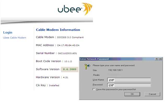 Login to Ubee DDW366 gateway