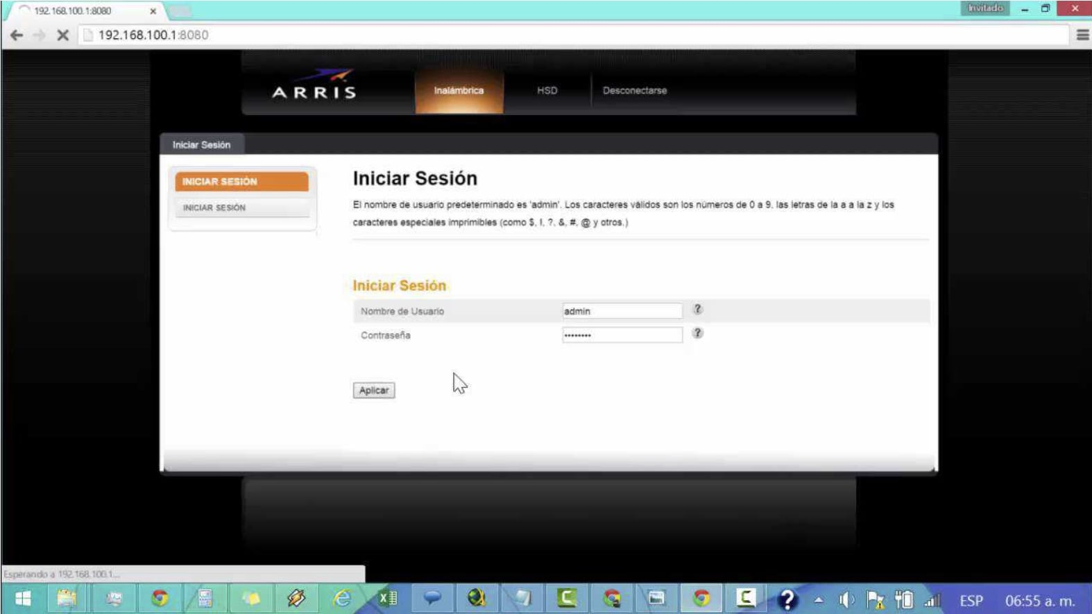 Arris NVG599 Router Login Page