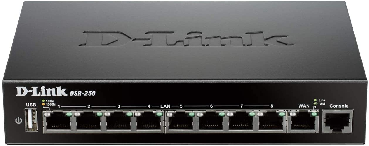 D-Link DSR-250 VPN Router, 8 Port Gigabit with Dynamic Web Content Filtering