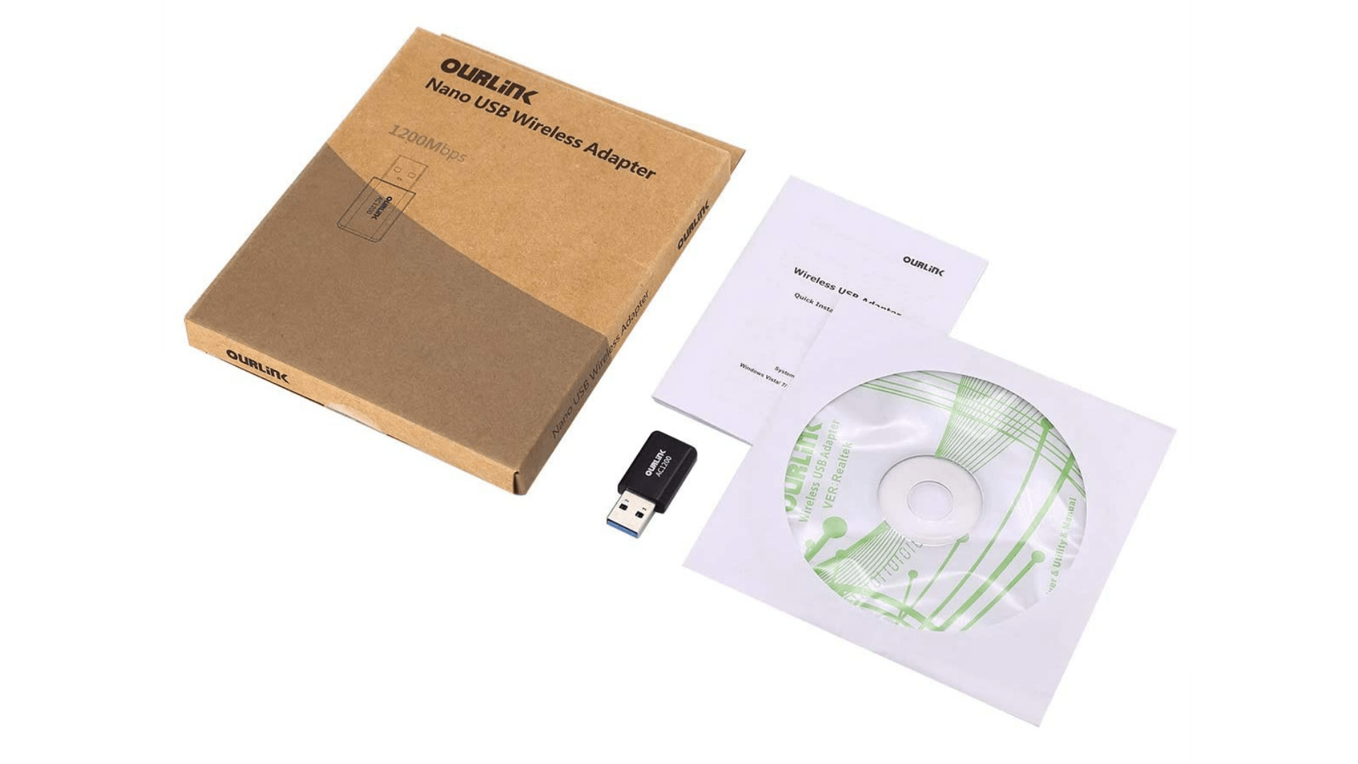 OurLink's Glam Hobby USB WiFi Adapter with a CD installation guide and USB manual.
